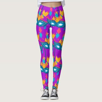 Mardi Gras  Mask And Confetti Leggings