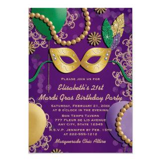 Mardi Gras Mask Birthday 5x7 Paper Invitation Card