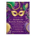 Mardi Gras Mask Birthday Card at Zazzle