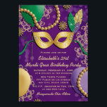 """Mardi Gras Mask Birthday Invitation<br><div class=""""desc"""">Festive any age mardi gras mask birthday party invitations with a gold mask with faux glitter look green, gold and purple feathers and green ties, balloons, beads, bokeh and ornate patterns in the background. Whether you're celebrating in the french quarters of New Orleans or you are in the Fat Tuesday...</div>"""