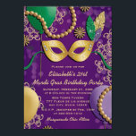 """Mardi Gras Mask Birthday Invitation<br><div class=""""desc"""">Festive any age mardi gras mask birthday party invitations with a gold mask with faux glitter look green, gold and purple feathers and green ties, balloons, beads, bokeh and ornate patterns in the background. Whether you"""