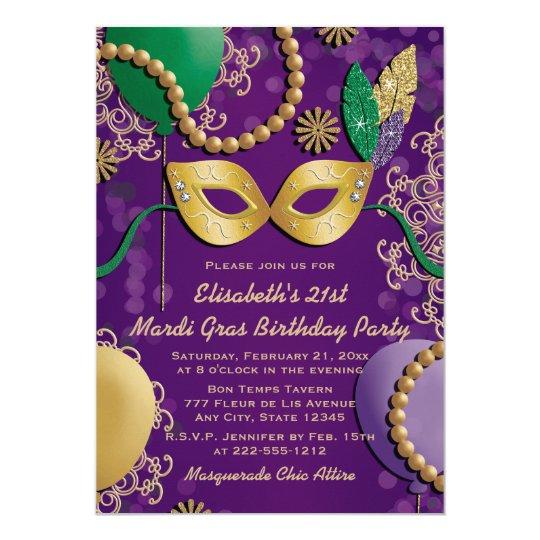 614ff82705aa Mardi Gras Mask Birthday Invitation