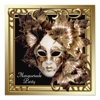 Mardi Gras Mask Black Gold Masquerade Party Card