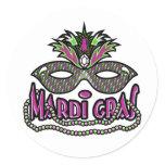Mardi Gras Mask Classic Round Sticker