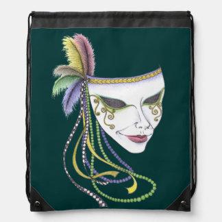 Mardi Gras Mask Drawstring Backpack