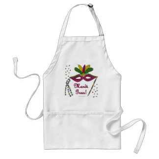 Mardi Gras Mask Feather Beads Adult Apron