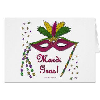 Mardi Gras Mask Feather Beads Greeting Card