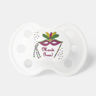 Mardi Gras Mask Feather Beads Pacifier
