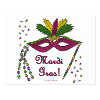 Mardi Gras Mask Feather Beads Postcard