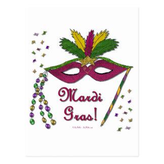 Mardi Gras Mask Feather Beads Postcard