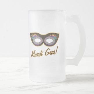 Mardi Gras mask Frosted Glass Beer Mug