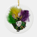 Mardi Gras Mask Gold Double-Sided Ceramic Round Christmas Ornament