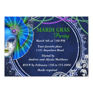 Mardi Gras Mask in Green and Blue Party Invite