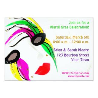 "Mardi Gras Mask Invitation 5"" X 7"" Invitation Card"