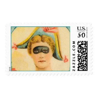 Mardi Gras Mask Masked Ball Lady Masquerade Party Postage
