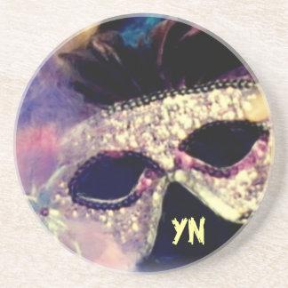 Mardi Gras Mask monogram coaster