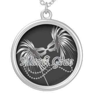 Mardi Gras Mask Round Pendant Necklace