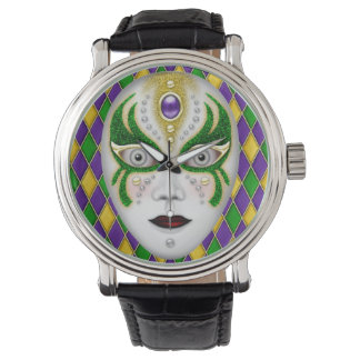 Mardi Gras Mask on Harlequin Background Wrist Watches