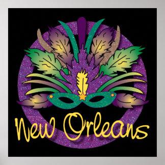 Mardi Gras Mask Poster - New Orleans, LA