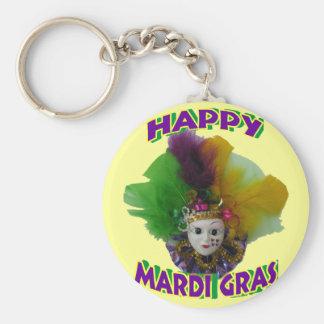 Mardi Gras Mask Purple Curls Keychain