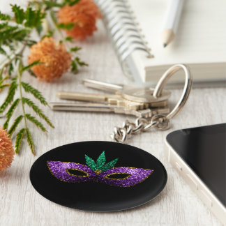 Mardi Gras Mask Purple Green Gold Sparkles black Keychain