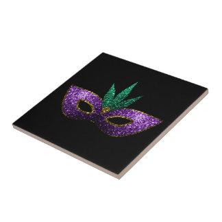 Mardi Gras Mask Purple Green Gold Sparkles Ceramic Tile