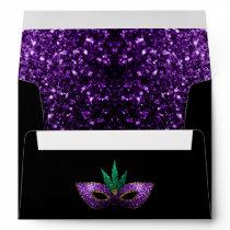 Mardi Gras Mask Purple Green Gold Sparkles Envelope