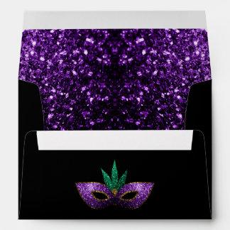Mardi Gras Mask Purple Green Gold Sparkles Envelopes