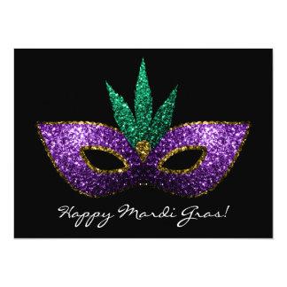 Mardi Gras Mask Purple Green Gold Sparkles Invite