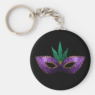Mardi Gras Mask Purple Green Gold Sparkles Keychain