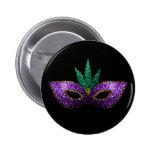 Mardi Gras Mask Purple Green Gold Sparkles Pinback Button