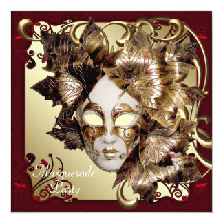 Mardi Gras Mask Red Black Gold Masquerade Party Card