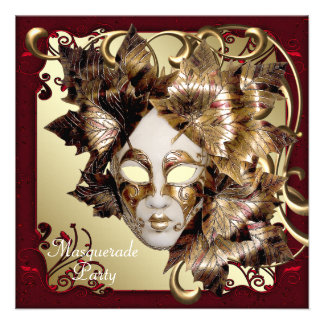 Mardi Gras Mask Red Black Gold Masquerade Party Custom Announcement