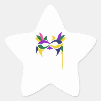 MARDI GRAS MASK STAR STICKER