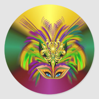Mardi-Gras-Mask-The-Queen Classic Round Sticker