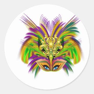 Mardi-Gras-Mask-The-Queen-V-2 Classic Round Sticker