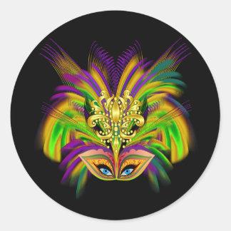 Mardi-Gras-Mask-The-Queen-V-2 Pegatina Redonda