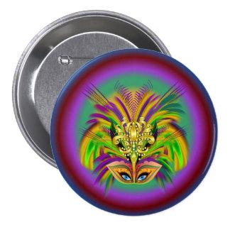 Mardi-Gras-Mask-The-Queen-V-2 Pin Redondo De 3 Pulgadas