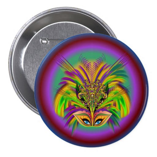 Mardi-Gras-Mask-The-Queen-V-3 Pinback Buttons
