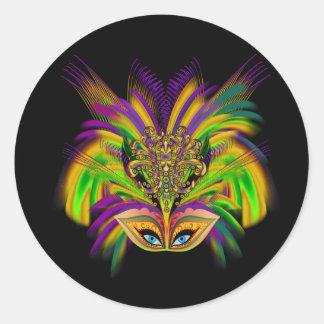 Mardi-Gras-Mask-The-Queen-V-3 Pegatina Redonda