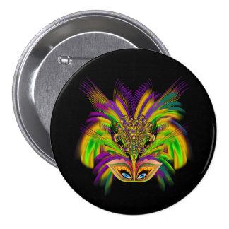 Mardi-Gras-Mask-The-Queen-V-3 Pin Redondo De 3 Pulgadas