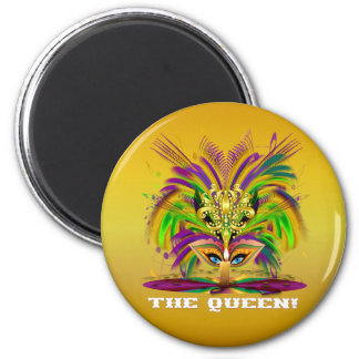 Mardi-Gras-Mask-The-Queen-V-4 2 Inch Round Magnet