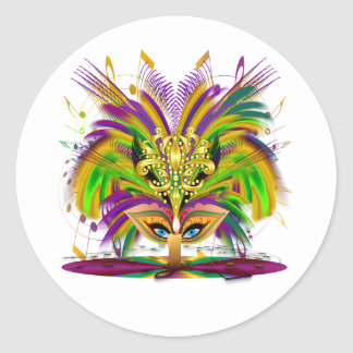 Mardi-Gras-Mask-The-Queen-V-4 Pegatina Redonda