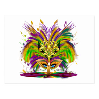 Mardi-Gras-Mask-The-Queen-V-4 Postcard