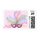 Mardi Gras Mask with Feathers Postage Stamps