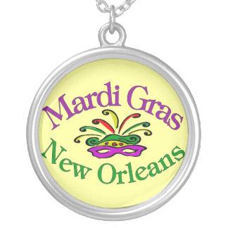 Mardi Gras Masking Round Pendant Necklace