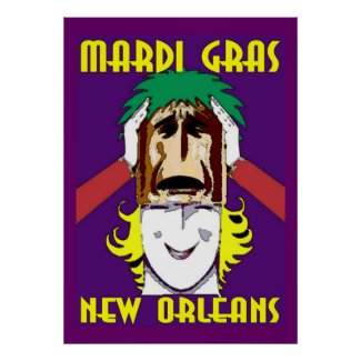 MArdi Gras Masking print