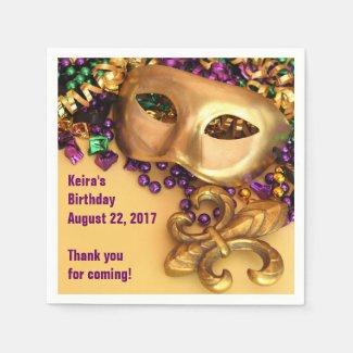 Mardi Gras Masks and Beads Paper Napkins