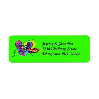 Mardi Gras Masks Vacation Return address Labels