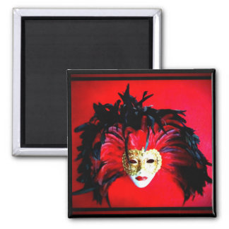 MARDI GRAS MASQUE BLACK AND RED RELIEF 2 INCH SQUARE MAGNET